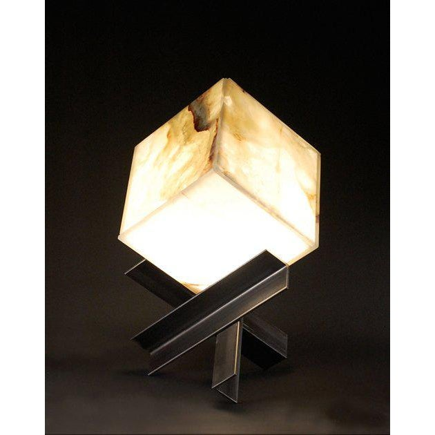 Contemporary 'Cubyx' Sculptural Onyx and Blackened Steel Lamp For Sale - Image 3 of 4