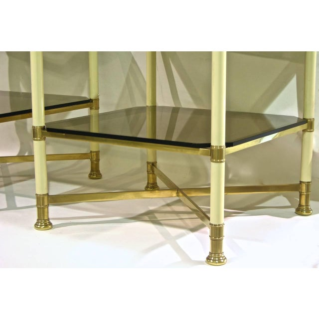 Vivai Del Sud 1970s Smoked Glass and Ivory Brass Side Tables - a Pair For Sale In New York - Image 6 of 11