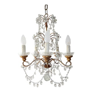 French Murano Drops Flowers and Swags Chandelier, circa 1920 For Sale