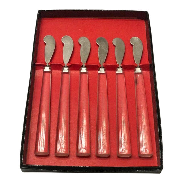 Set of Six Mid Century Modern Cocktail Knives in Lucite For Sale