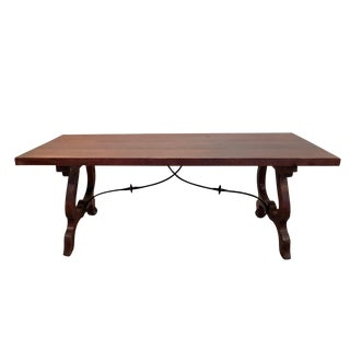 Antique Massive Solid Spanish Walnut Dining Table Wrought Iron Stretcher For Sale
