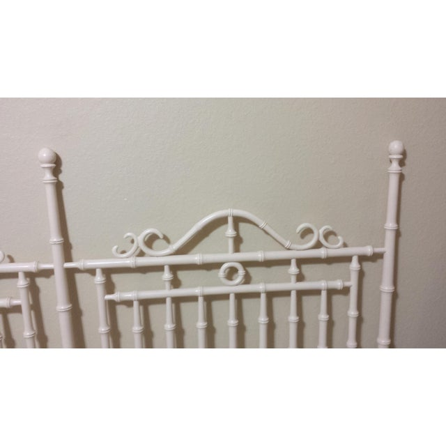 Vintage Chinese Chippendale Faux Bamboo Fretwork King Size Headboard - Image 7 of 8