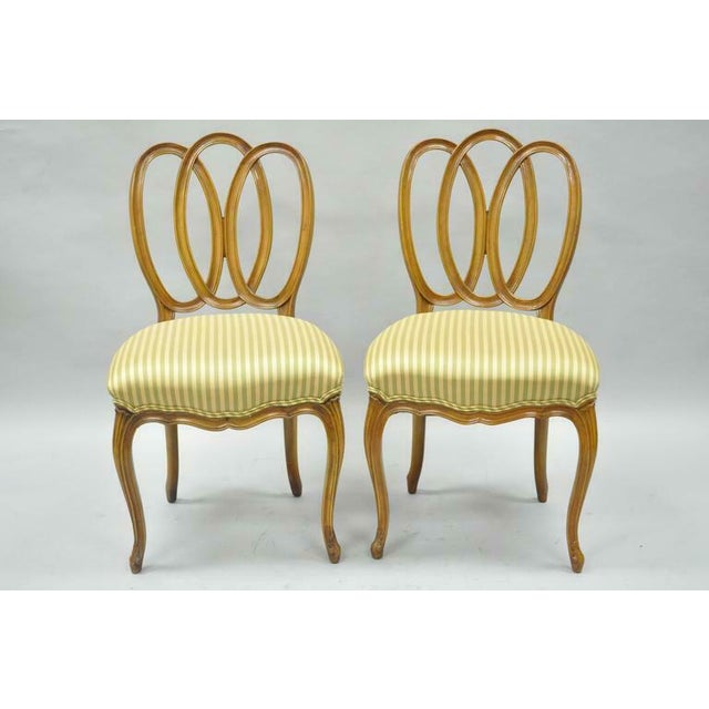 1950s Vintage French Provincial Triple Oval Pretzel Back Walnut Dining Chairs- Set of 6 For Sale - Image 10 of 11