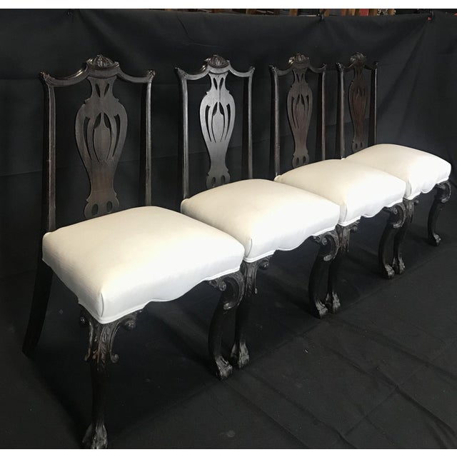 Brown Carved 19th Century English Chippendale Style Dining Chairs -Set of 4 For Sale - Image 8 of 9