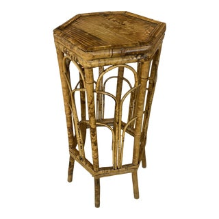 Vintage Burnt Tortoise Bamboo Rattan Plant Stand For Sale