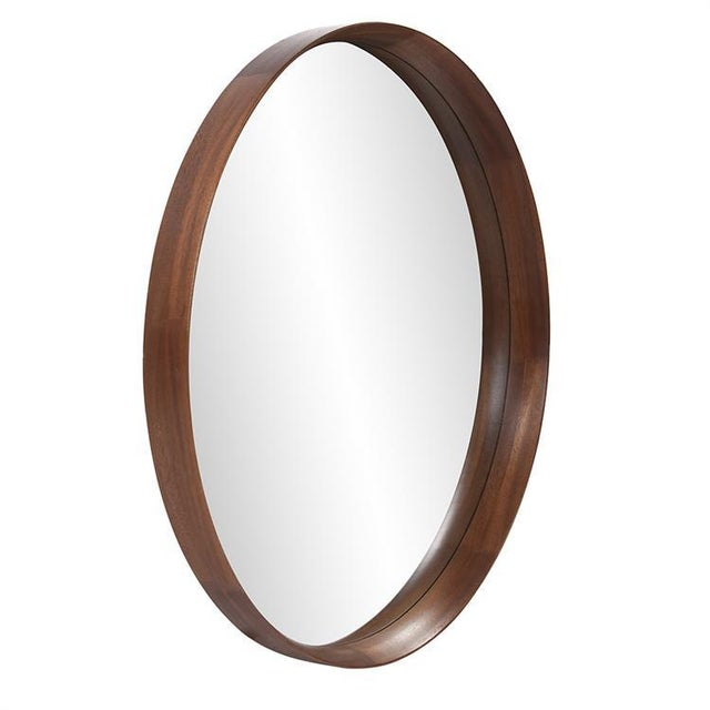 2020s Reagan Round Wood Mirror from Kenneth Ludwig Chicago For Sale - Image 5 of 6