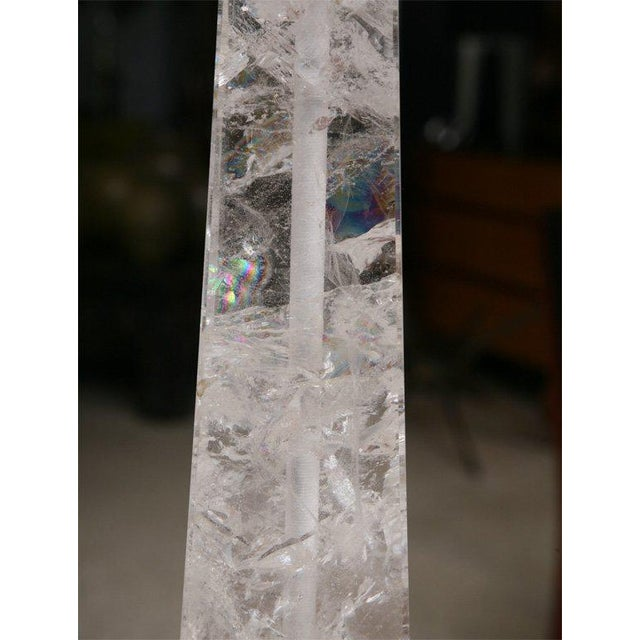 Glass Pair of Rock Crystal Lamps For Sale - Image 7 of 11