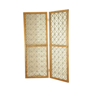 Custom Quality Pair Oak Frame Beveled Leaded Glass French Doors For Sale
