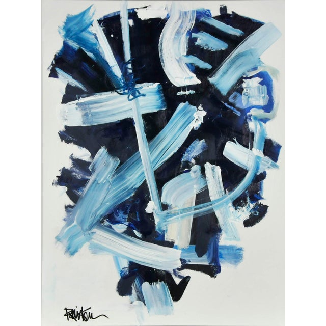 Abstract Navy and Blues Acrylic Painting by Robbie Kemper For Sale In Cincinnati - Image 6 of 6
