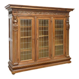 20th Century Antique Carved Walnut Italian Renaissance Revival Bookcase For Sale