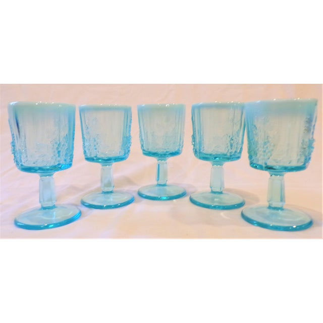 This is a beautiful set of 5 paneled grape impression opaline aqua wine / water goblet glasses. These are in excellent...