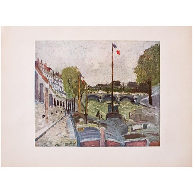 Turquoise 1950s Maurice Utrillo, Pont Neuf, Paris First Edition Lithograph For Sale - Image 8 of 8