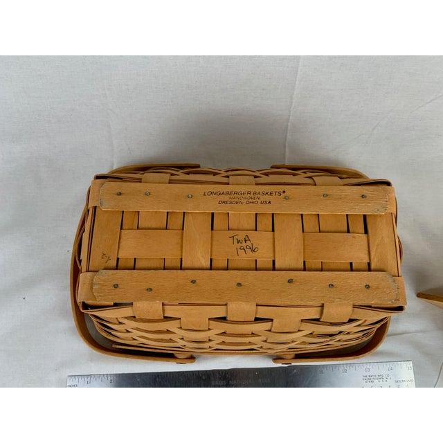 1990s Vintage Woven Longaberger Basket With Wood Divider For Sale - Image 5 of 6