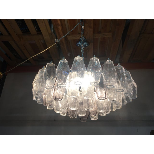Violet and Clear Poliedro Murano Glass With Chrome Frame Sputnik Chandelier For Sale - Image 12 of 13