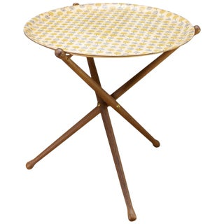 Nils Trautner Tripod Teak Table With Astrid Sampe Apple Pattern Tray For Sale