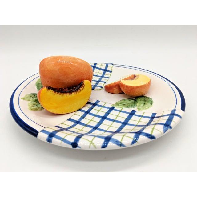 Bella Casa Trompe l'Oeil Blue and White Peach Fruit Plate For Sale - Image 4 of 7