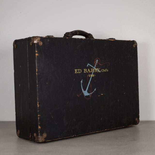 Industrial Hand Painted United States Navy Construction Mechanic Tool Box C.1940 For Sale - Image 3 of 9