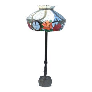 """Early American Style Floor Lamp with Bronze Base Glass Shade 24""""Dia 6 Light Heavy For Sale"""
