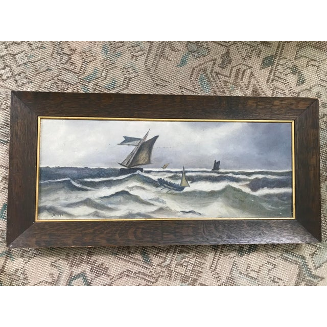 Canvas 1930s Vintage Ocean Storm Seascape Oil on Canvas Painting For Sale - Image 7 of 8
