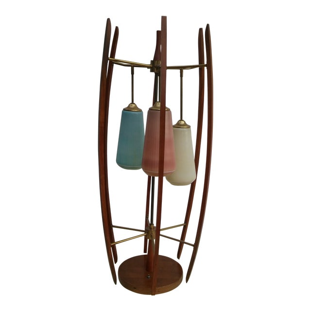 Mid-Cenury Modern Eames Era Teak Wood/Brass Large Table Lamp For Sale