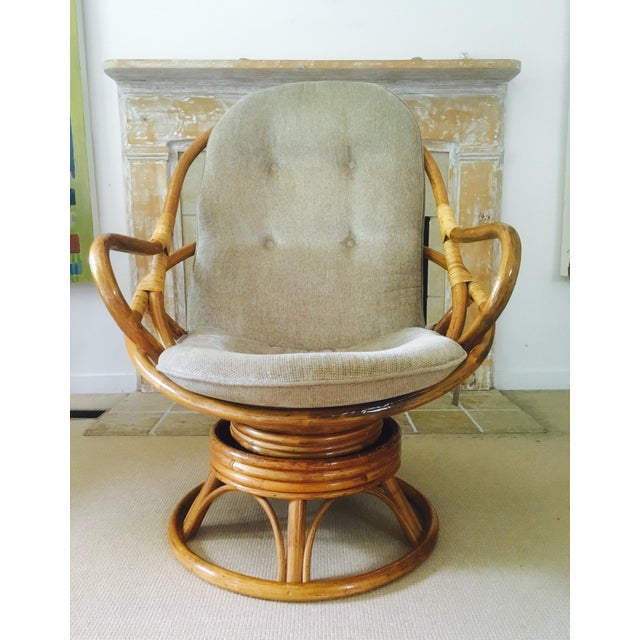 Vintage Bamboo Swivel Lounge Chair - Image 3 of 7