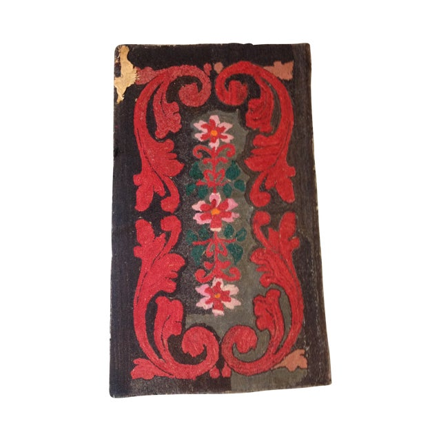 """Stitched Crewel Red & Brown Rug - 2'6"""" x 4'4"""" - Image 1 of 7"""