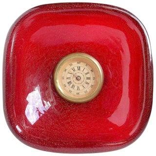 Seguso Vetri d'Arte Murano Red Gold Flecks Italian Art Glass Desk Clock For Sale