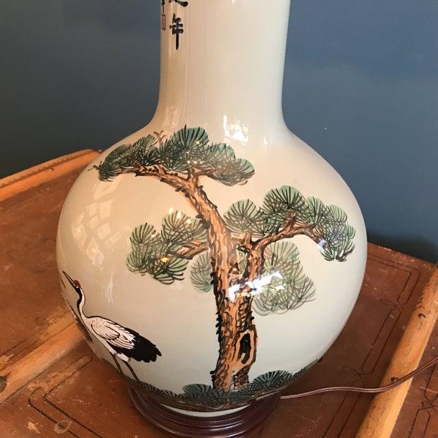 Vintage Asian Celadon Ceramic Lamp - Image 4 of 8