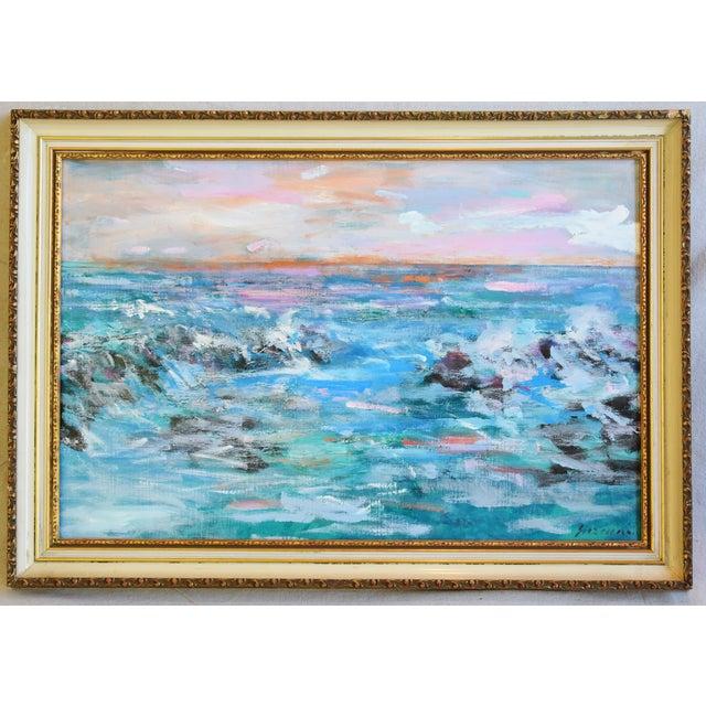 Juan Guzman Ventura California Crashing Ocean Waves Oil Painting For Sale - Image 10 of 10