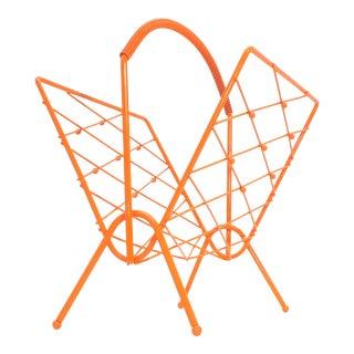 Mid Century Modern Orange Magazine Rack Album Holder For Sale