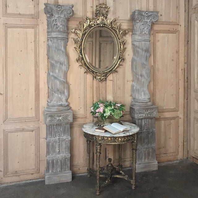Pair of 19th Century French Architectural Weathered Oak Hand Carved Columns. Grand and stately solid oak columns with...