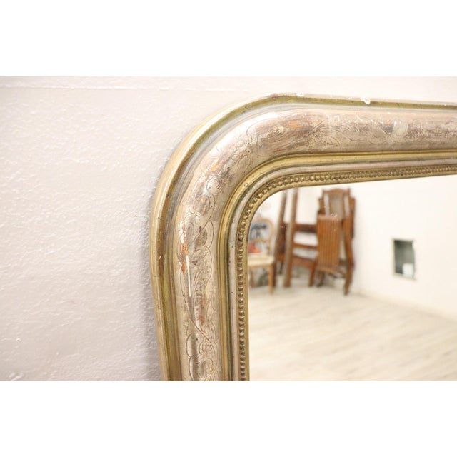 Glass 19th Century Italian Golden and Silver Wood Antique Wall Mirror For Sale - Image 7 of 13