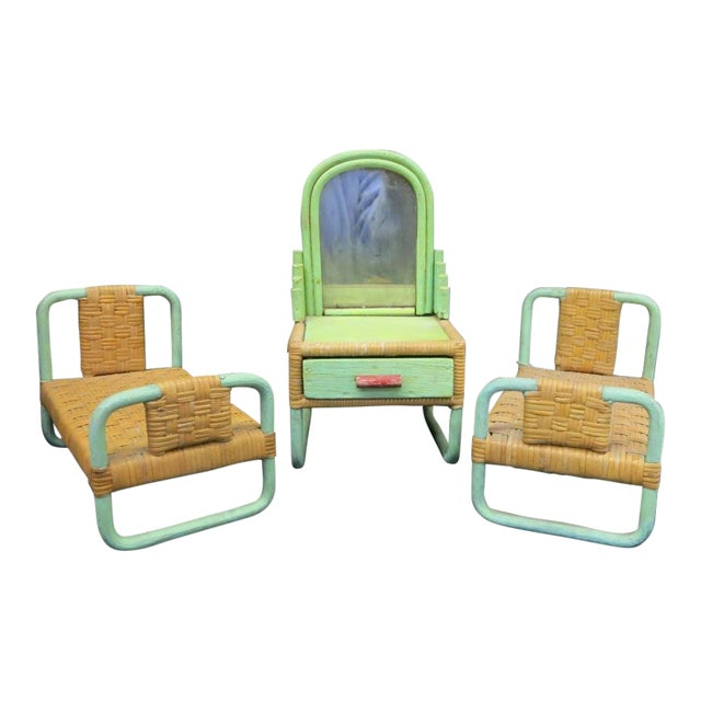 1930s - 1940s Paul Frankl Salesman Sample Miniature Rattan Furniture - 3 Pc. Set For Sale