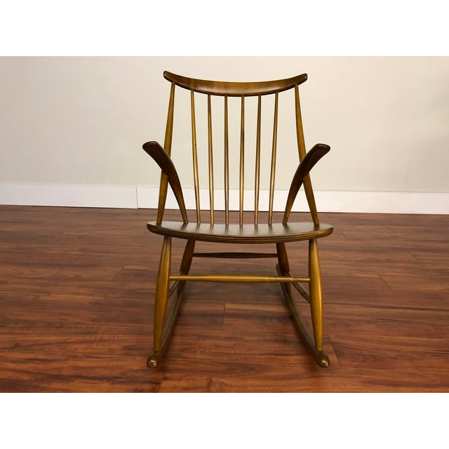 Mid 20th Century Illum Wikkelso for Niels Eilersen Gyngestol Rocking Chair For Sale - Image 5 of 13
