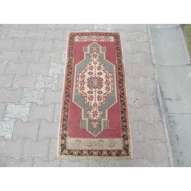 Handknotted Vintage rug from Oushak region of Turkey. Approximately 45-55 years old.In very good condition