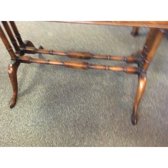 English antique mahogany regency sofa table with two extending leaves and two drawers. 3-column bamboo base.