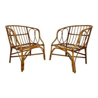 Vintage Pretzel Twist Rattan Chairs - a Pair For Sale