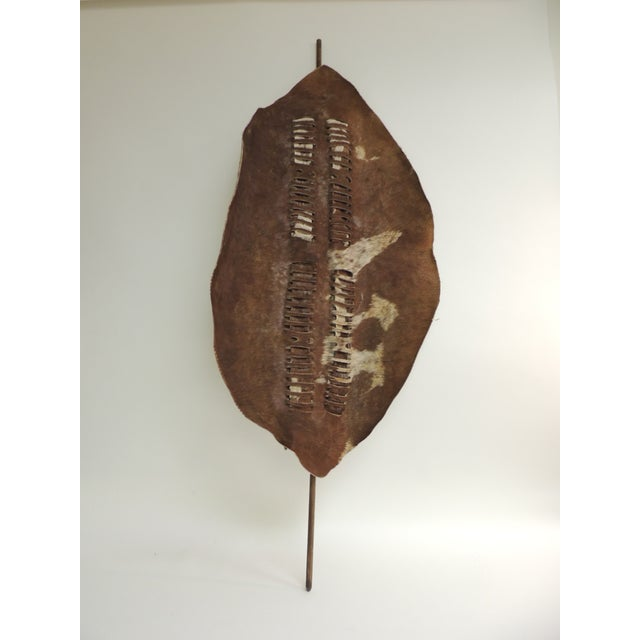 Vintage Brown and White African Large Artisanal Cowhide Warrior Shield For Sale In Miami - Image 6 of 6