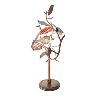 Sculptural Leafy Copper Table Lamp For Sale