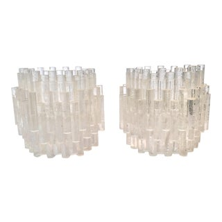 Mid Century Brutalist Style Clear Acrylic Rod Candle Holders - Set of 2 For Sale