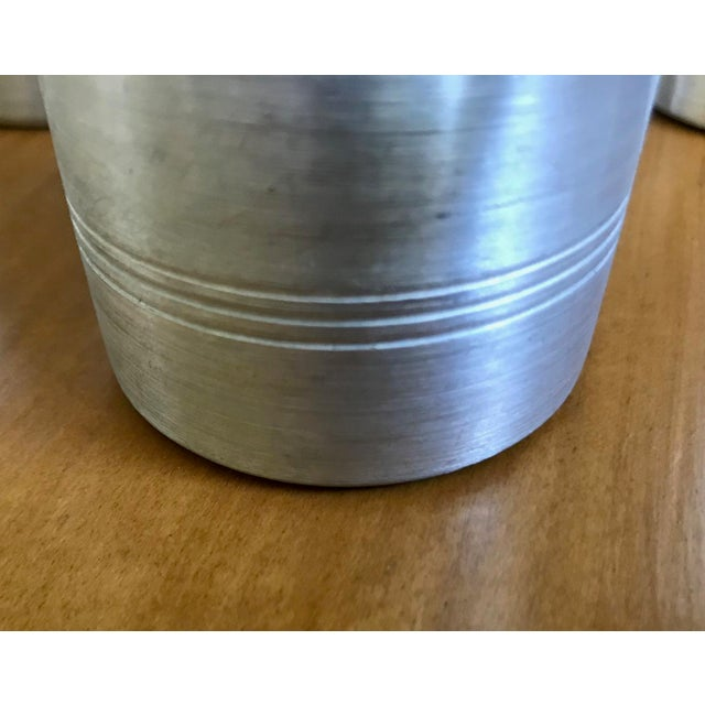 1970s Hand Turned Aluminum Ice Bucket With Lucite Handle and Matching Glasses - 9 Piece Set For Sale - Image 6 of 9