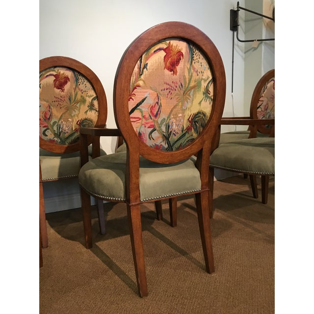 Italian Tapestry & Leather Wood Arm Chairs - Set of 8 For Sale In West Palm - Image 6 of 10