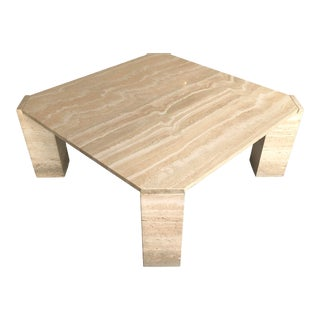 1970s Postmodern Travertine Coffee Table For Sale