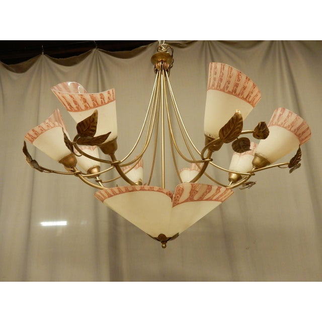 1950s Vintage 1950's French Eight Light Chandelier For Sale - Image 5 of 8