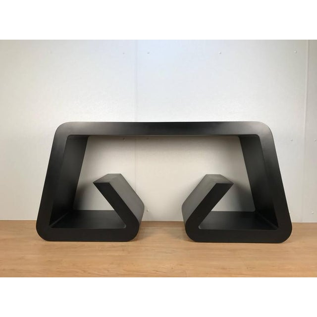 Black Lacquered Scroll Console Table - Image 2 of 4