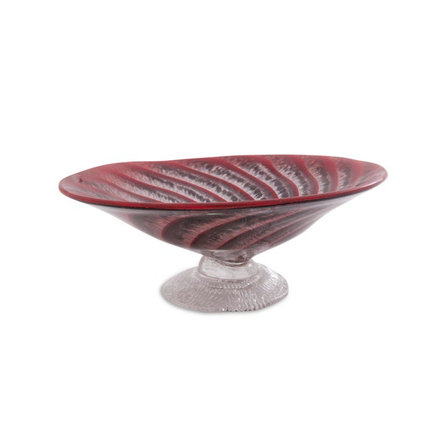 Footed Red Art Glass Spiral Dish - Image 2 of 6