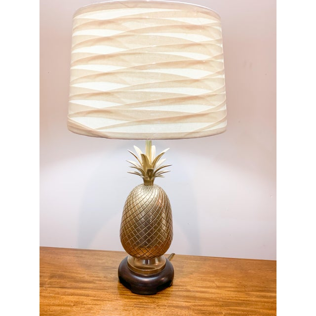 Iconic Frederick Cooper brass pineapple lamp. This would be perfect for your palm beach regency glam or colorful coastal...