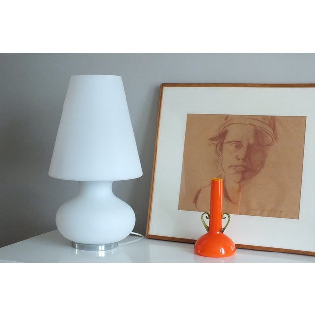 "Mid-Century 22"" Tall Frosted Glass Lamp - Image 3 of 10"