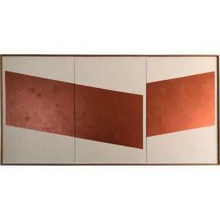 "Original Acrylic Painting ""Copper Disjointed Triptych Jet0594"" For Sale"