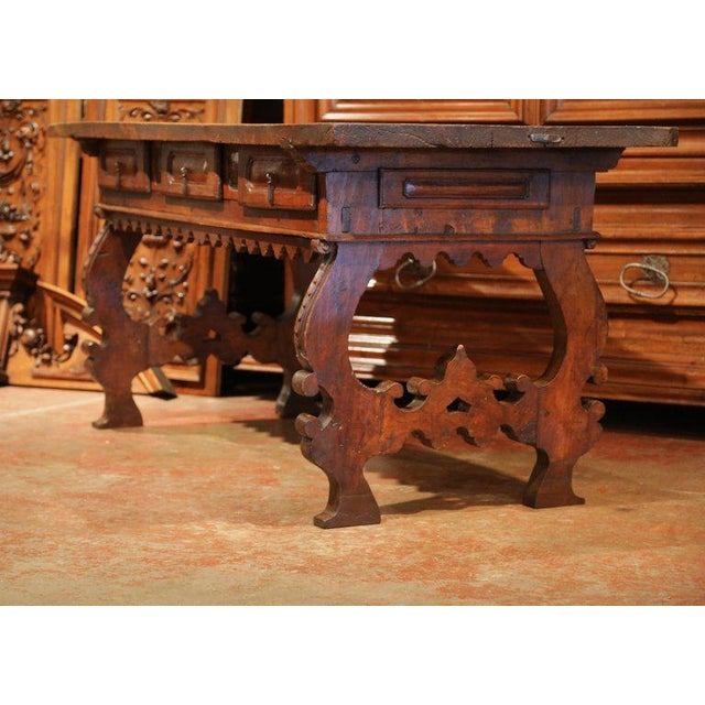 Brown Important 18th Century Spanish Carved Walnut Console Table With Secret Drawers For Sale - Image 8 of 12